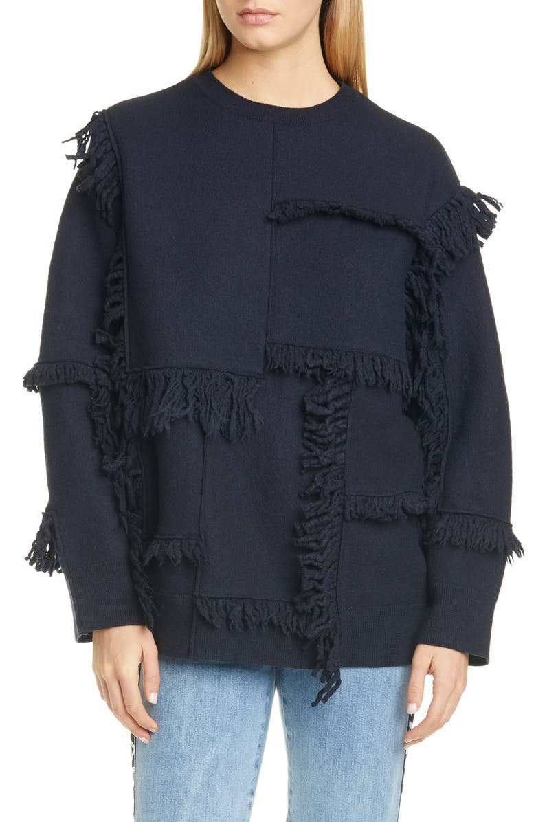 STELLA MCCARTNEY Patchwork Fringe Wool Sweater, Main, color, INK
