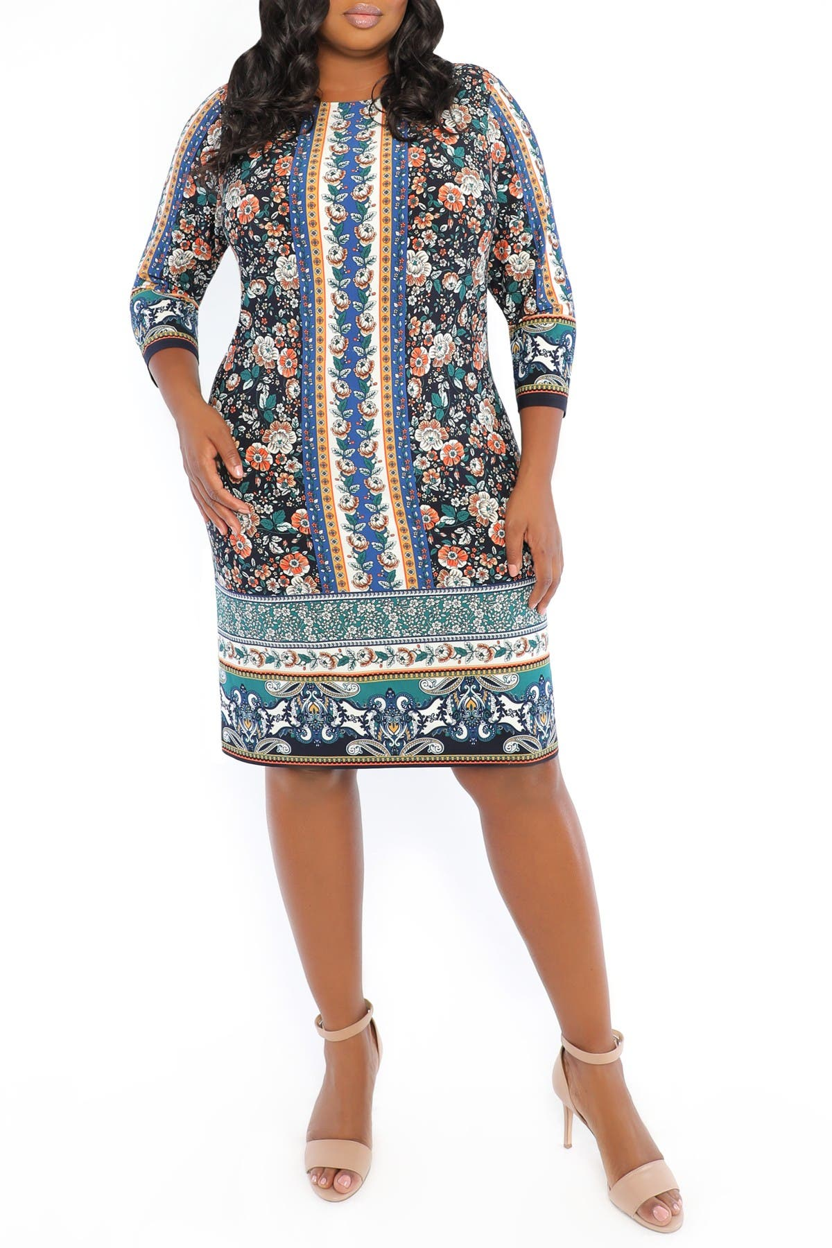 Image of London Times 3/4 Length Sleeve Floral Print Shift Dress