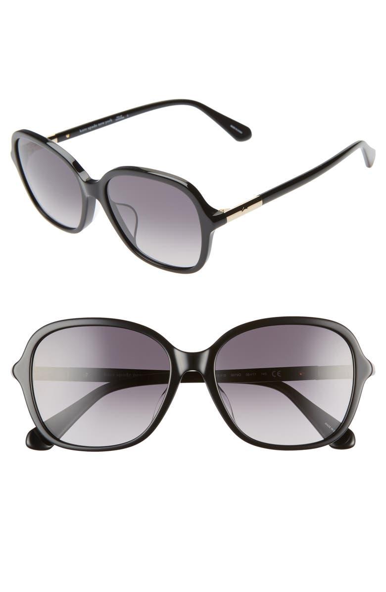 KATE SPADE NEW YORK bryleefs 56mm round sunglasses, Main, color, BLACK