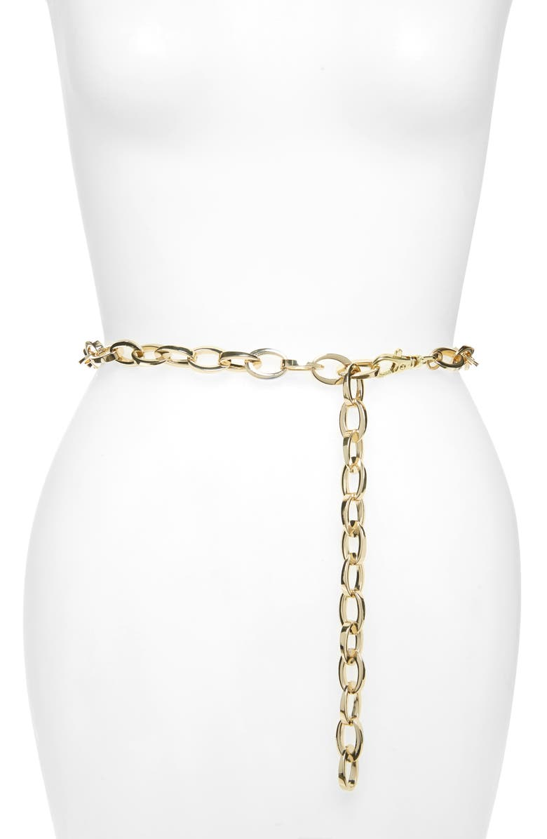HALOGEN<SUP>®</SUP> Chain Belt, Main, color, GOLD