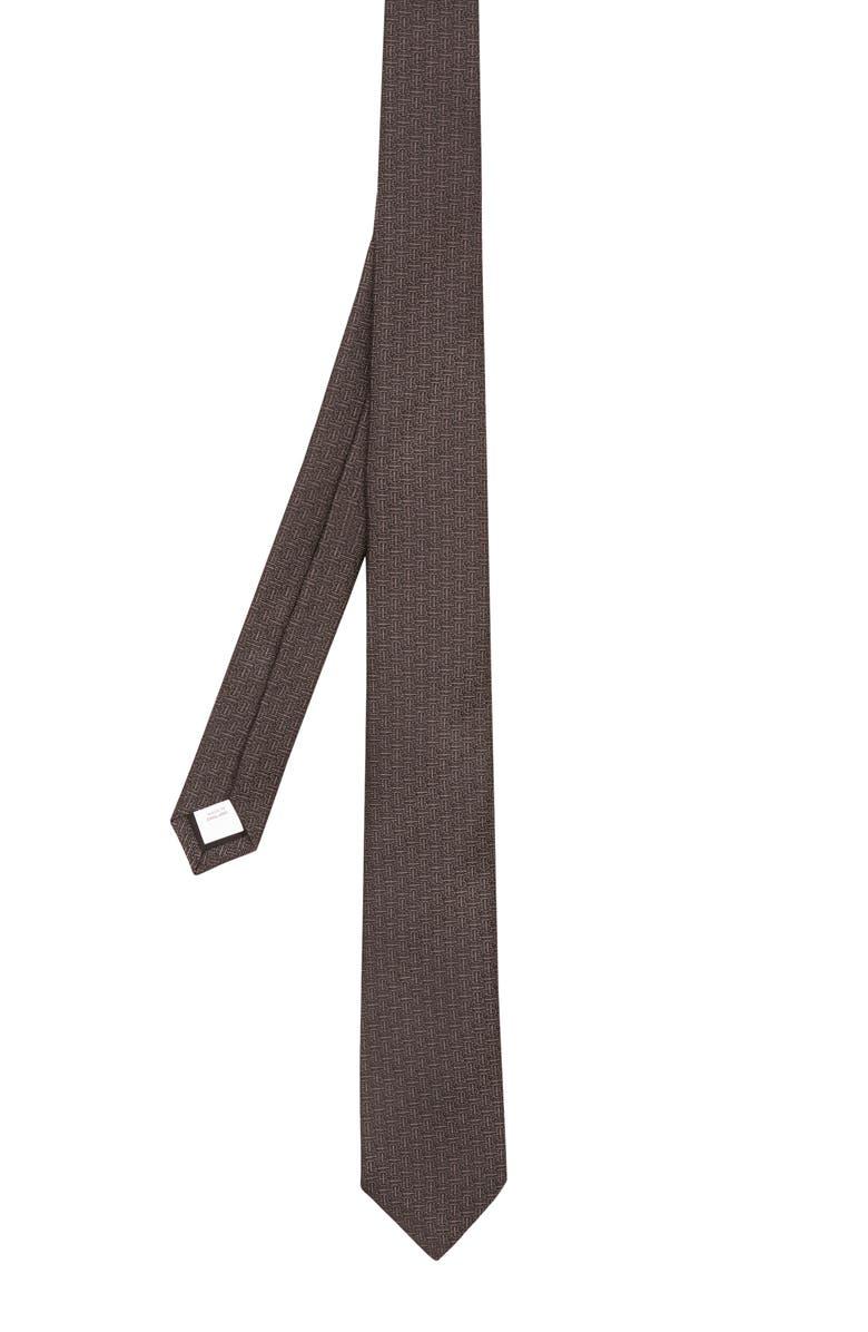 BURBERRY Manston TB Monogram Silk Tie, Main, color, CHARCOAL