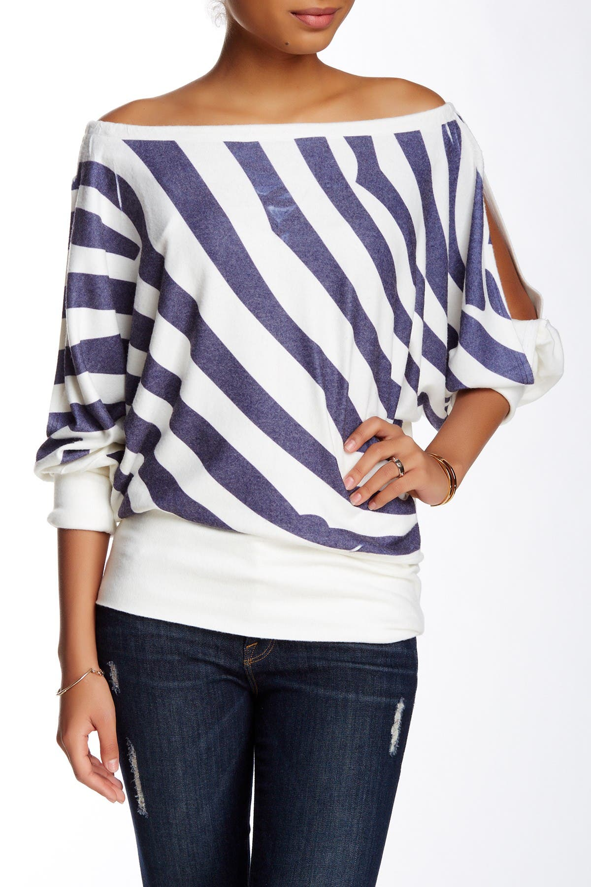 Image of Go Couture Printed Off-the-Shoulder Dolman Sweater