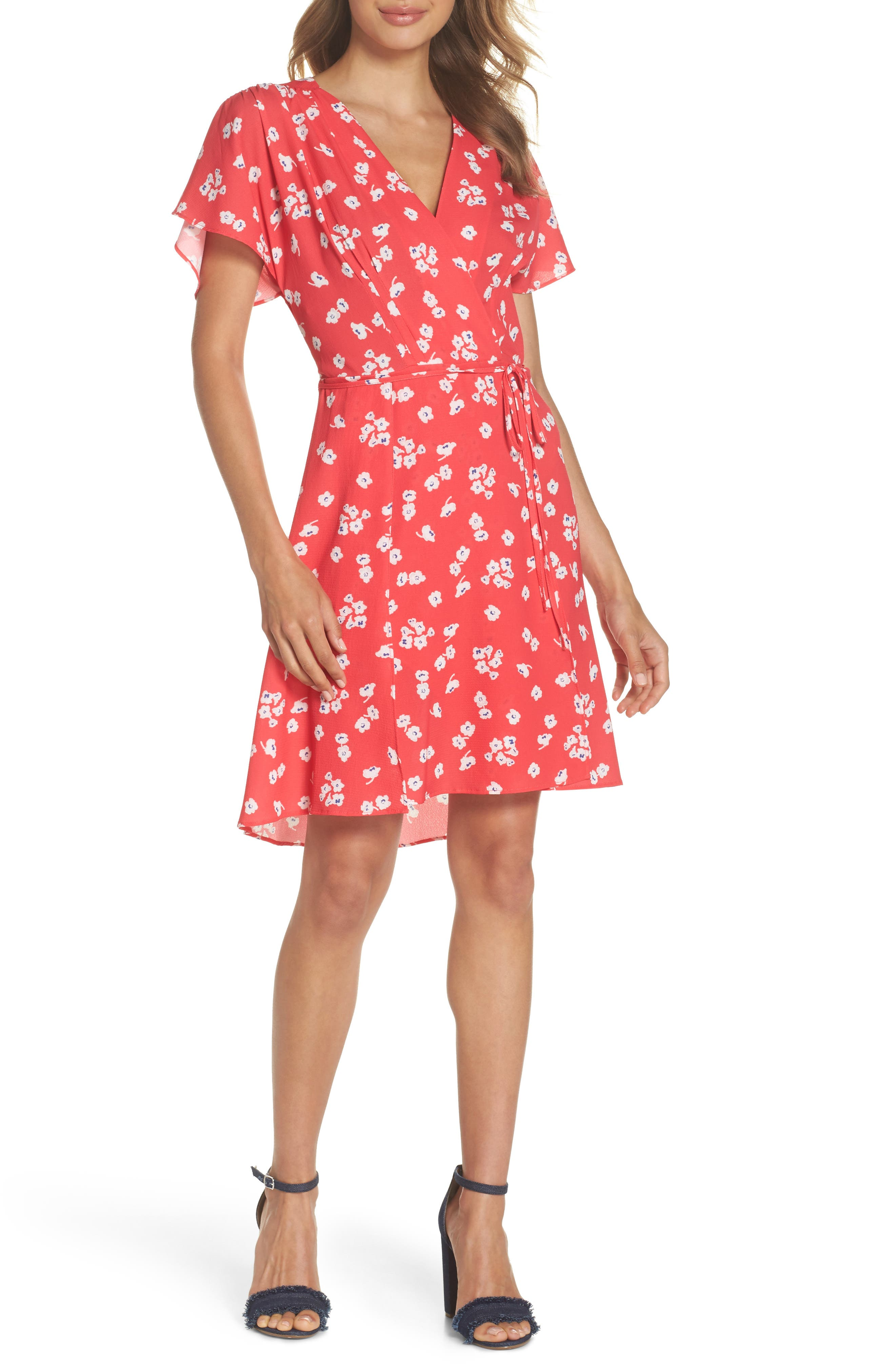 French Connection Verona Floral Print Faux Wrap Dress, Pink