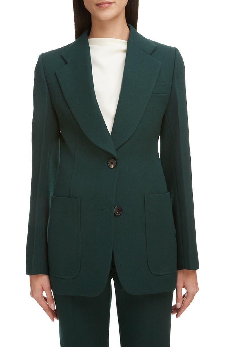 VICTORIA BECKHAM Patch Pocket Fitted Jacket, Main, color, BOTTLE GREEN