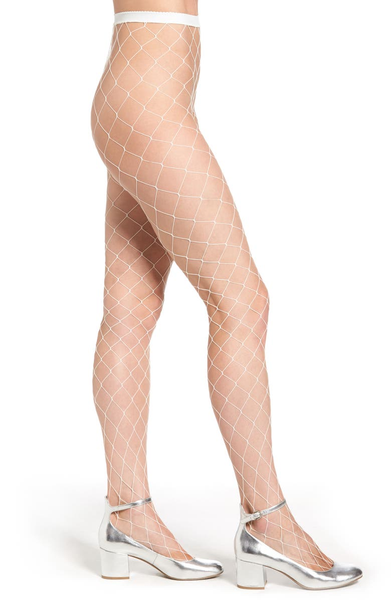 NORDSTROM Fishnet Tights, Main, color, 100
