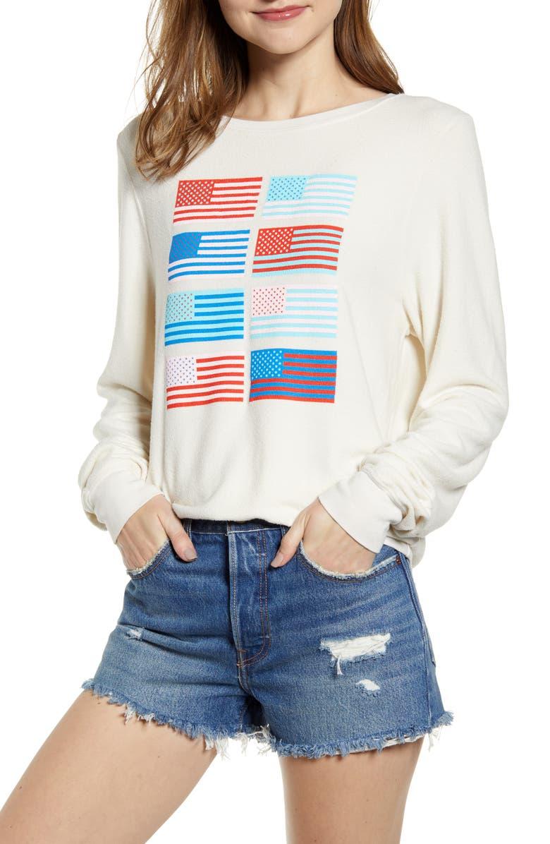 WILDFOX Pop Americana Flag Print Baggy Beach Jumper Sweatshirt, Main, color, VINTAGE LACE