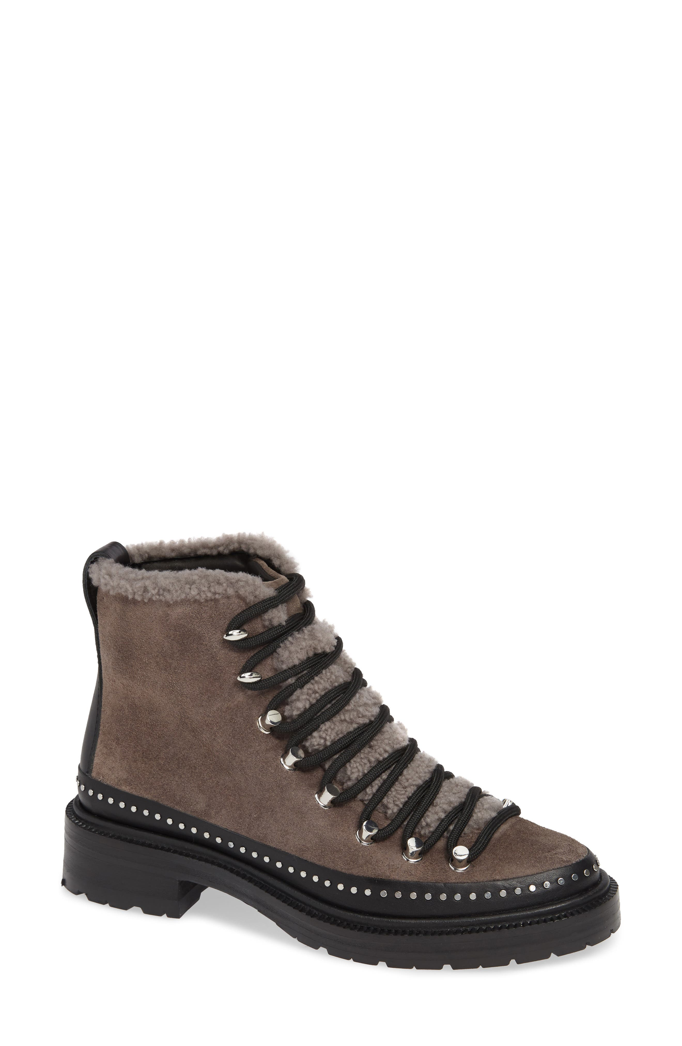 ,                             Compass Genuine Shearling Combat Boot,                             Main thumbnail 1, color,                             ELEPHANT SUEDE