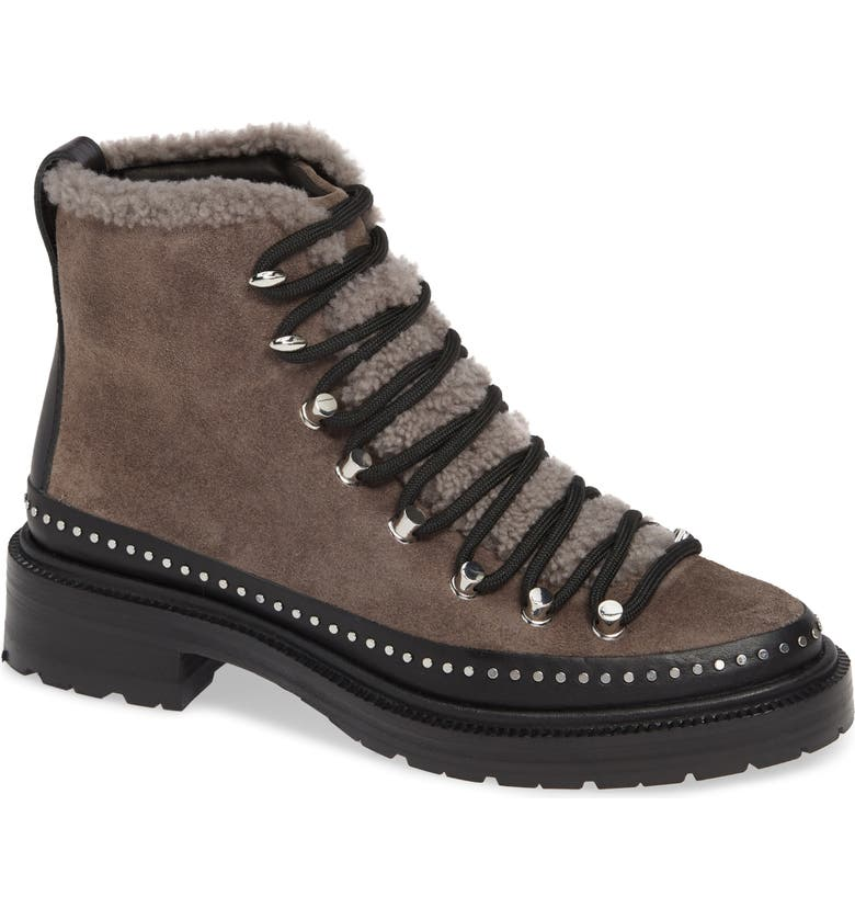 RAG & BONE Compass Genuine Shearling Combat Boot, Main, color, ELEPHANT SUEDE