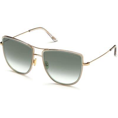 Tom Ford Tina 5m Aviator Sunglasses - Shiny Rose Gold/ Smoke