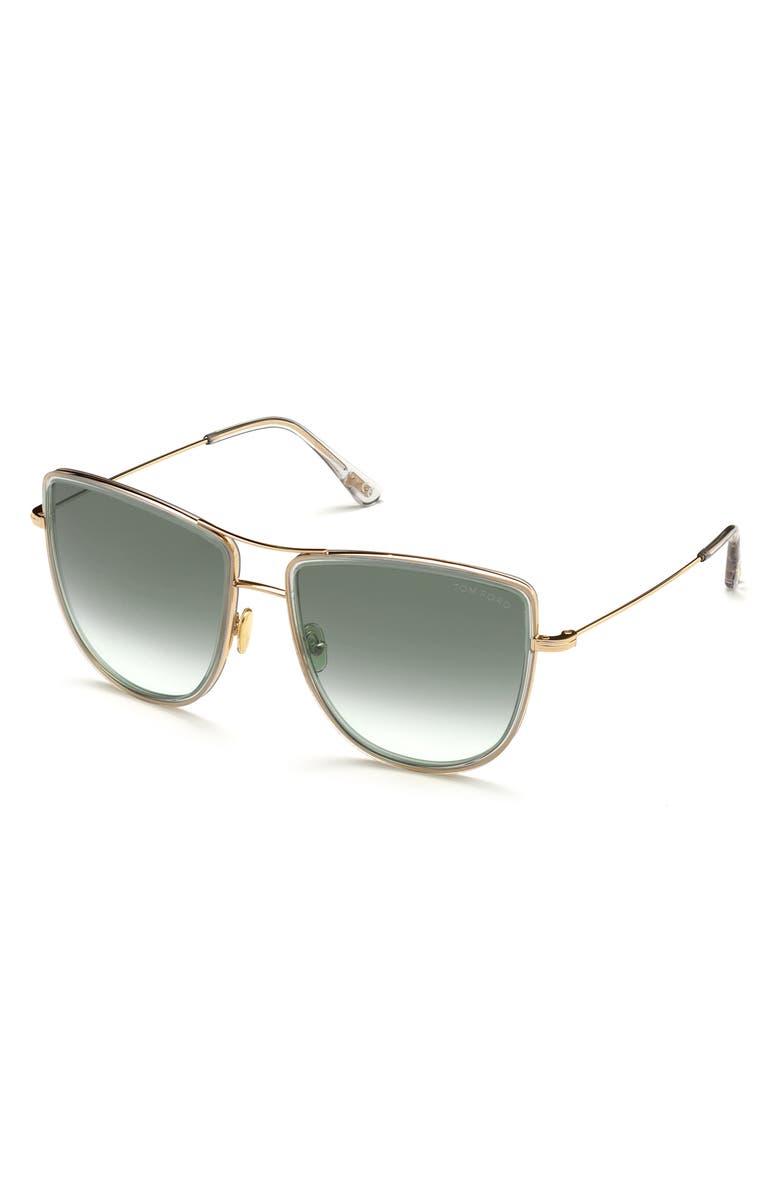 TOM FORD Tina 59mm Aviator Sunglasses, Main, color, SHINY ROSE GOLD/ SMOKE
