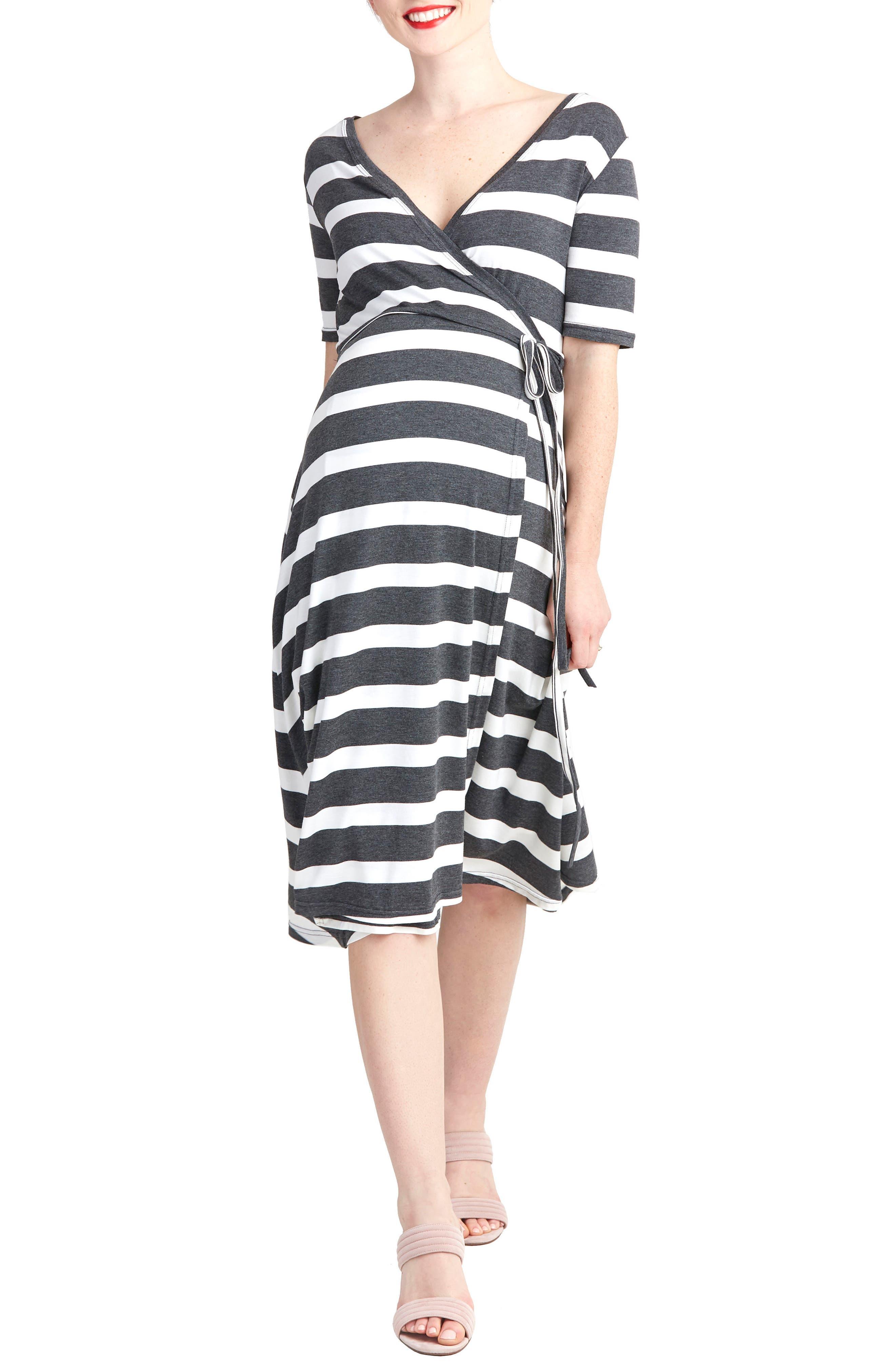 Nom Maternity Maya Maternity/nursing Wrap Dress, Grey