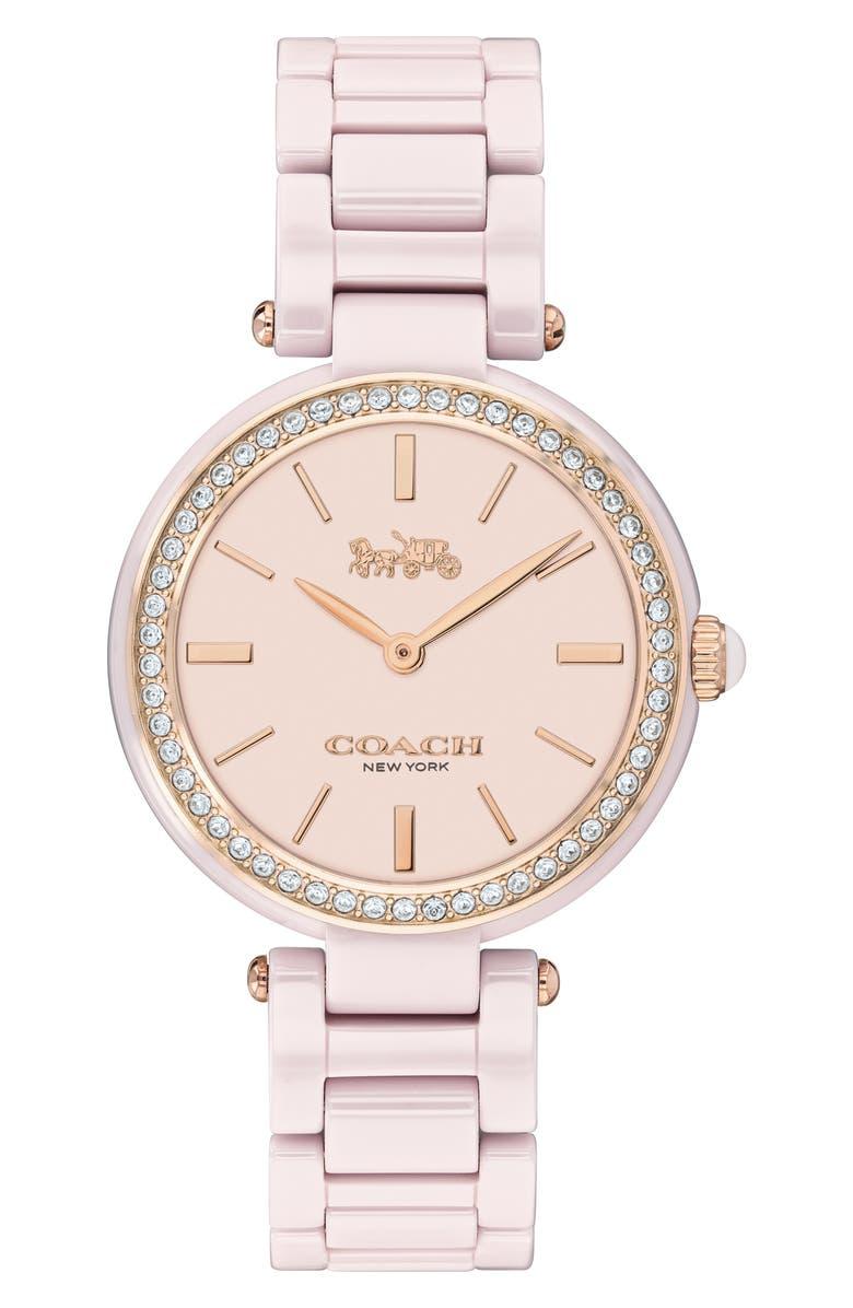 COACH Park Ceramic Bracelet Watch, 30mm, Main, color, PINK/ BLUSH/ SILVER