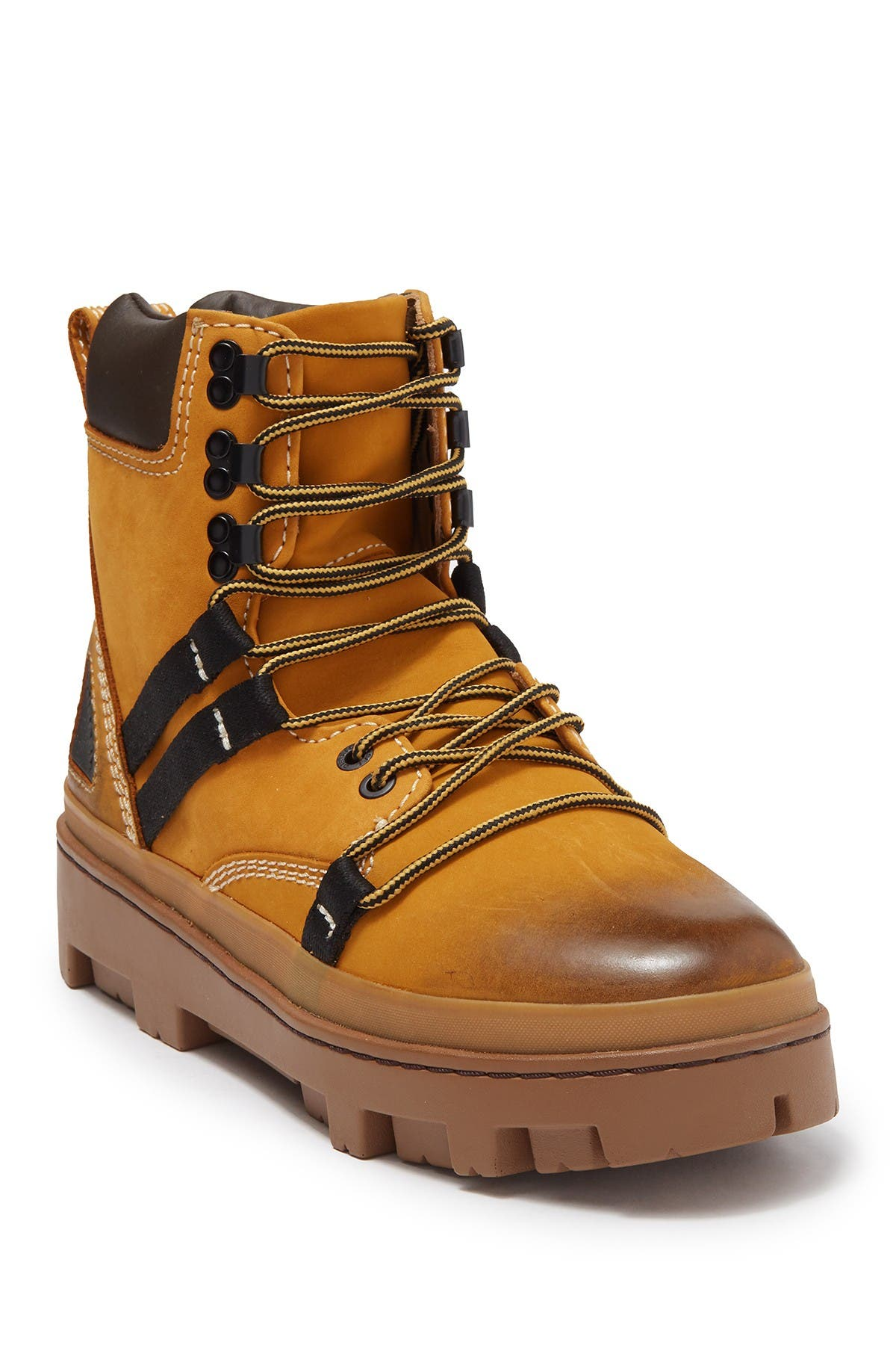 Image of Diesel 80's Vibe Leather Lace-Up Boot