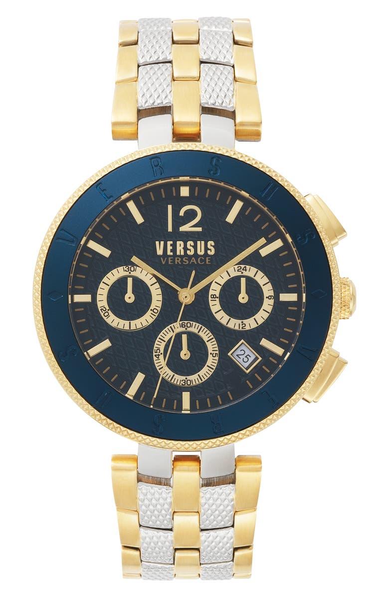 VERSUS VERSACE Versace Logo Chronograph Bracelet Watch, 44mm, Main, color, GOLD/ SILVER/ BLUE