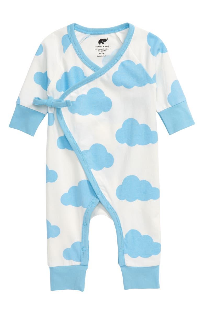 MONICA + ANDY Cloud Wrap Romper, Main, color, BLUE DREAM CLOUDS