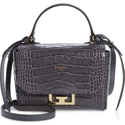Givenchy Mini Eden Croc Embossed Calfskin Top Handle Bag - Grey