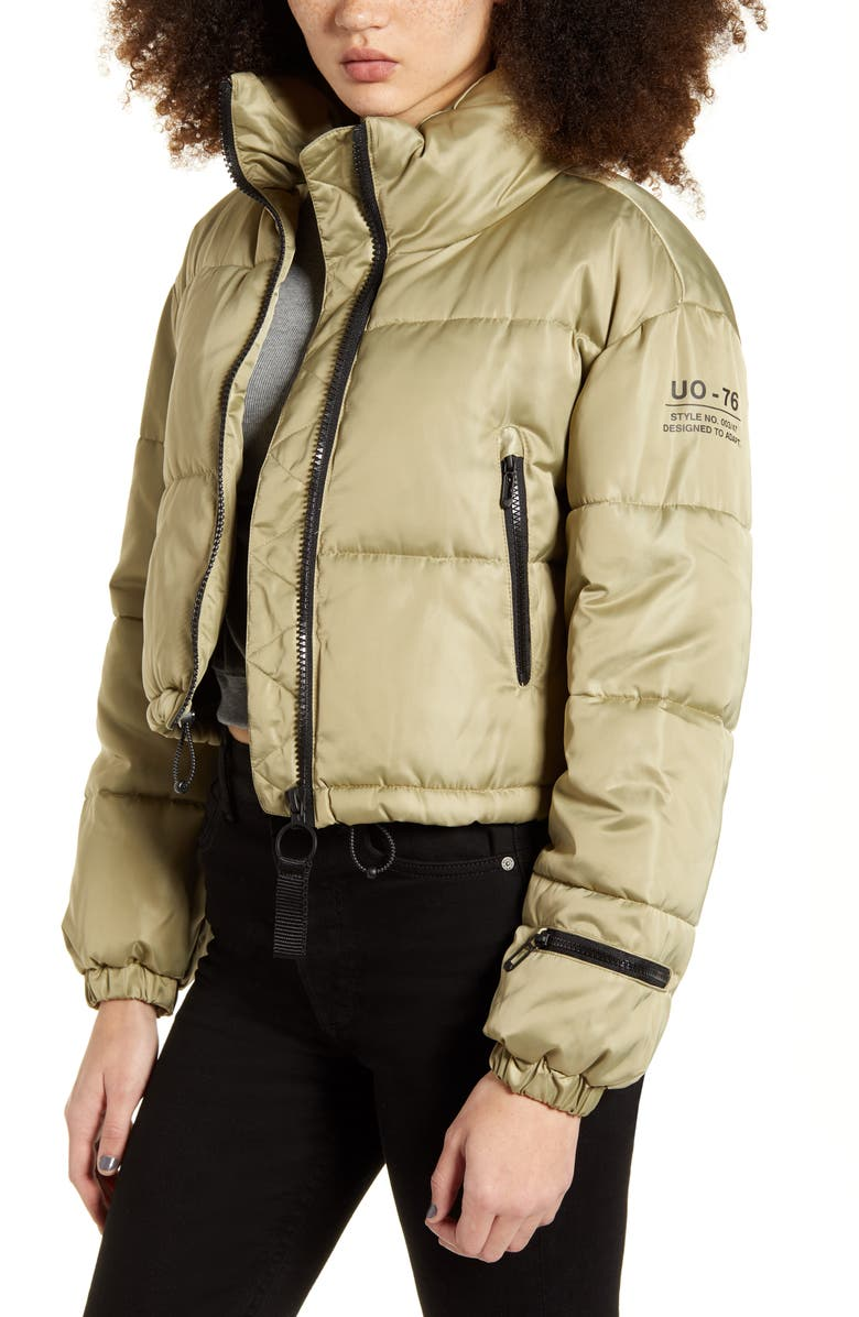 BDG URBAN OUTFITTERS Crop Puffer Jacket, Main, color, OLIVE