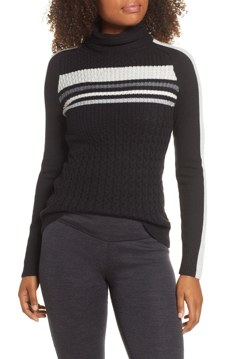 SMARTWOOL Dacono Turtleneck Ski Sweater, Main, color, BLACK