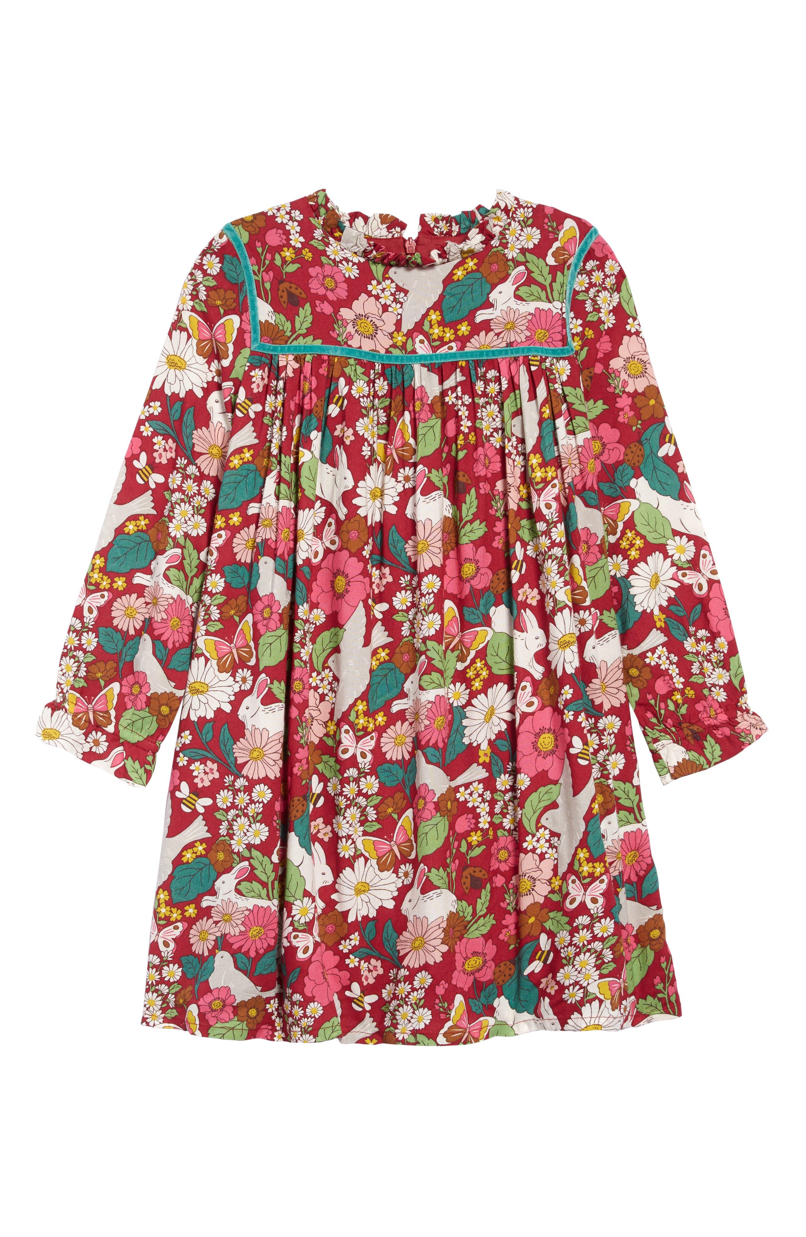 60s 70s Kids Costumes & Clothing Girls & Boys Toddler Girls Mini Boden Frill Neck Print Dress Size 3-4Y - Pink $45.00 AT vintagedancer.com