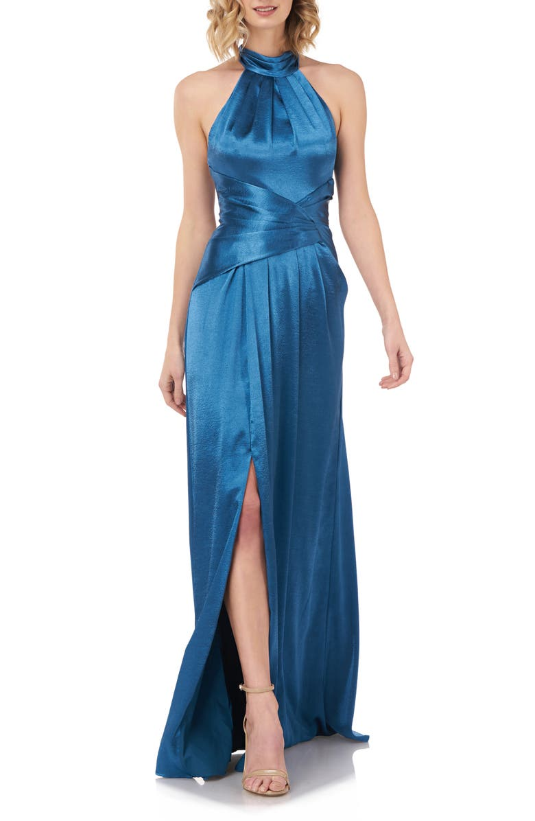 KAY UNGER Simone Halter Satin Gown, Main, color, 400