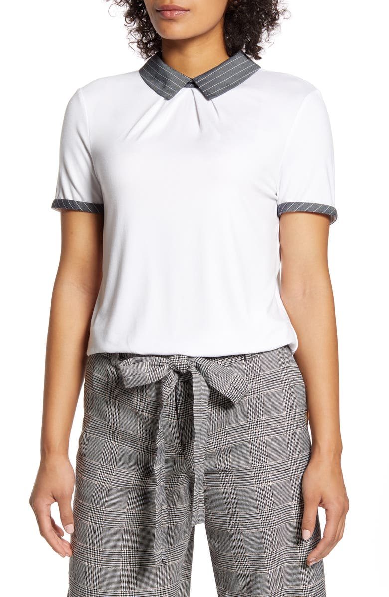 TOMMY HILFIGER Contrast Collar Top, Main, color, 900
