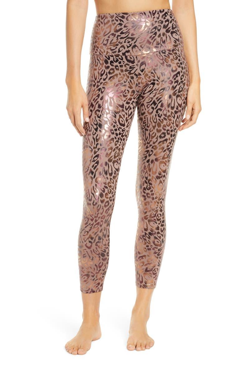 ONZIE Animal Foil High Waist Leggings, Main, color, GOLDEN LEOPARD