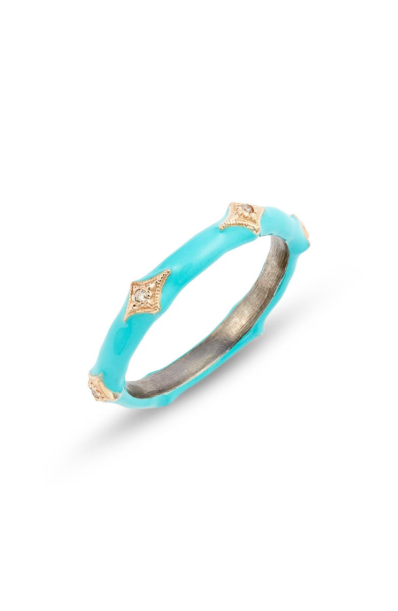 ARMENTA New World 14k Gold & Enamel Band Ring, Main, color, TURQUOISE ENAMEL
