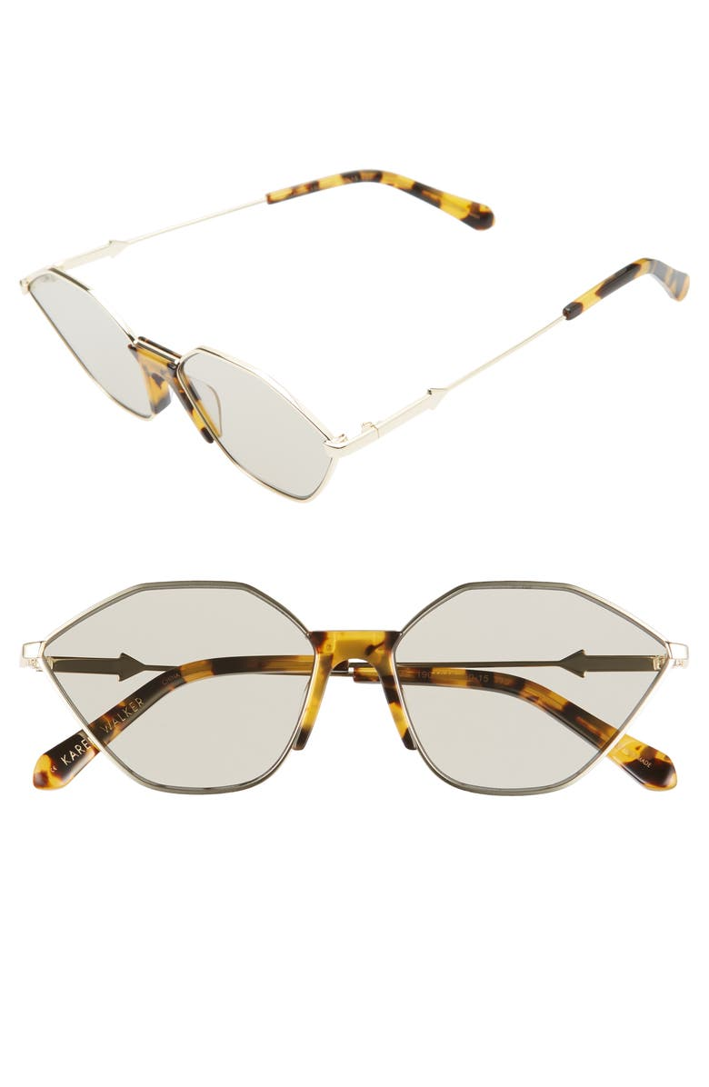 KAREN WALKER Game 60mm Geometric Sunglasses, Main, color, GOLD/ TORTOISE