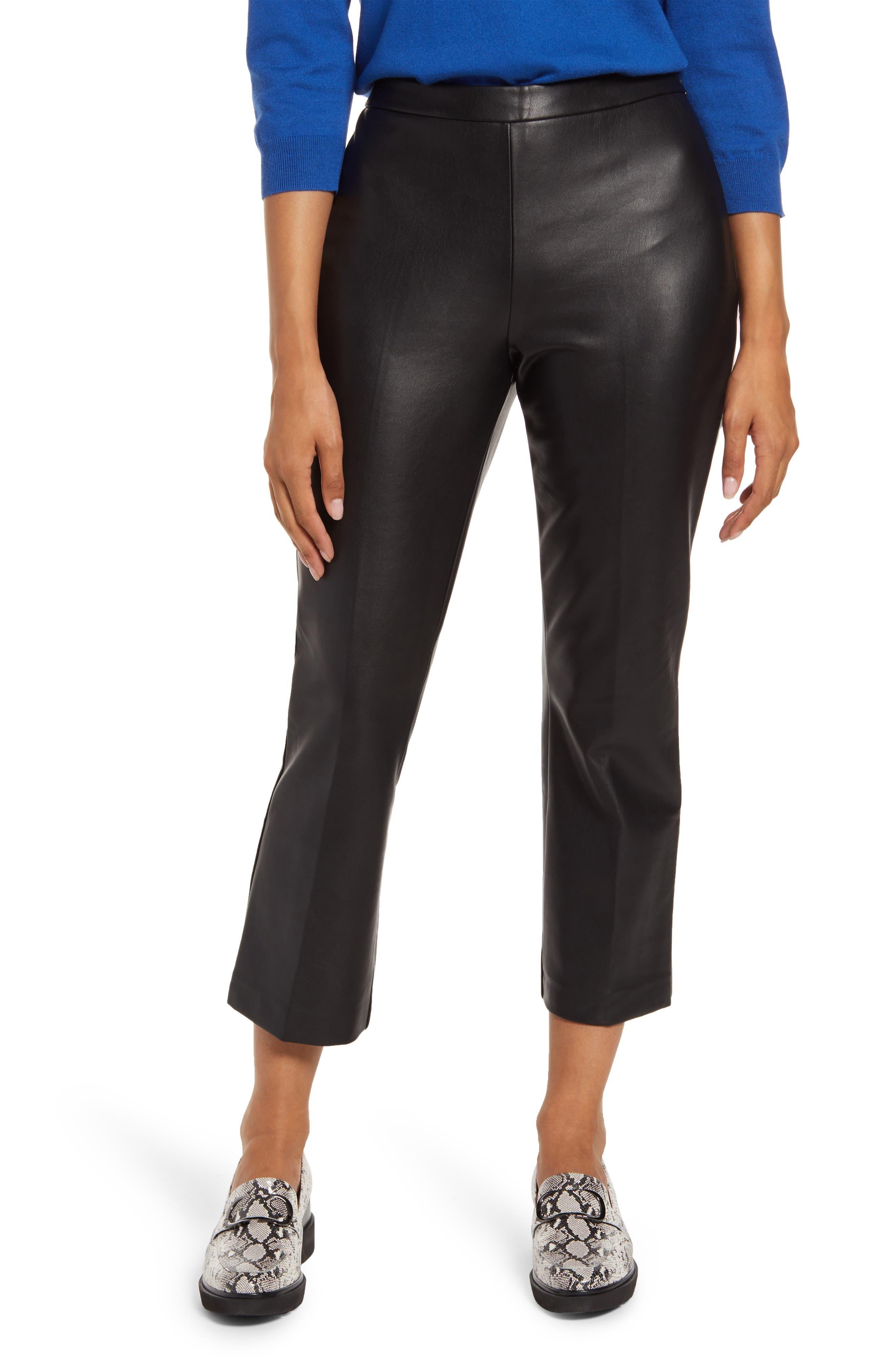 Women's Halogen Crop Straight Leg Faux Leather Pants