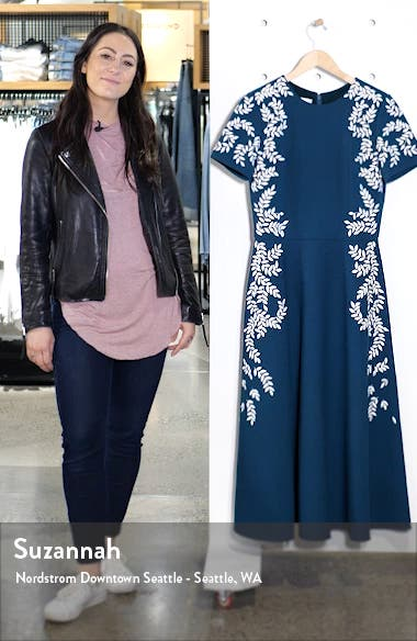 Leaf Embroidered Fit & Flare Midi Dress, sales video thumbnail