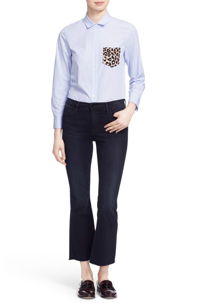 FRAME 'Le High Flare' Raw Edge High Rise Crop Jeans, Main, color, 402