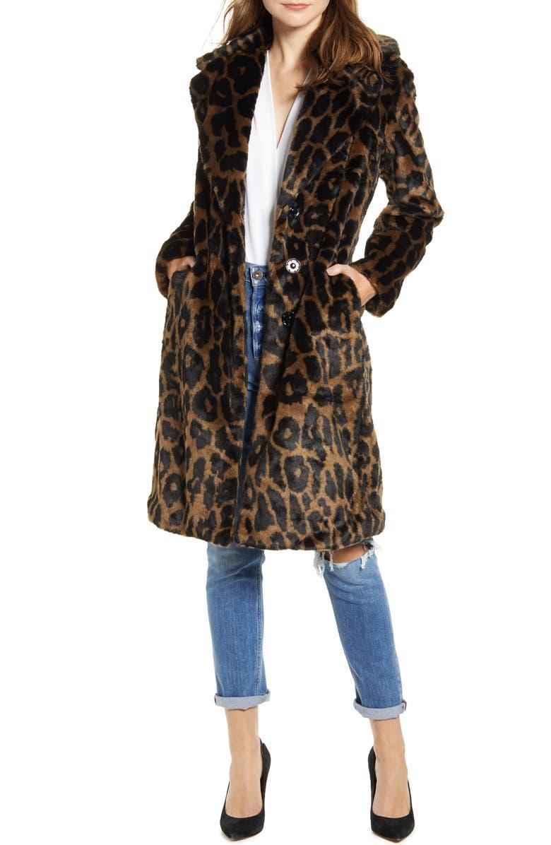 KENDALL + KYLIE Reversible Water Resistant Faux Fur Coat, Main, color, LEOPARD