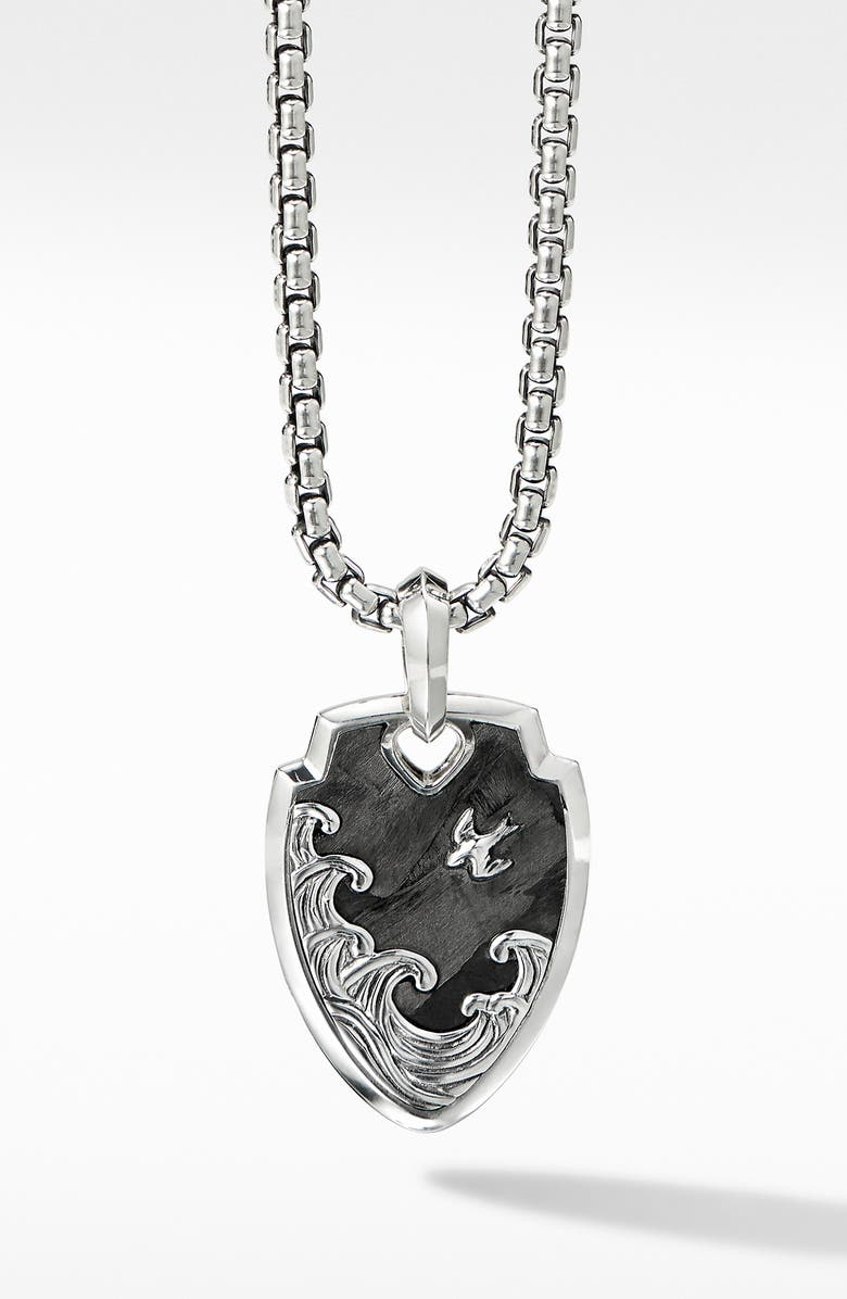 DAVID YURMAN Waves Shield Pendant with Forged Carbon, Main, color, SILVER/ FORGED CARBON
