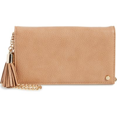 Mali + Lili Tassel Convertible Vegan Leather Clutch - Brown