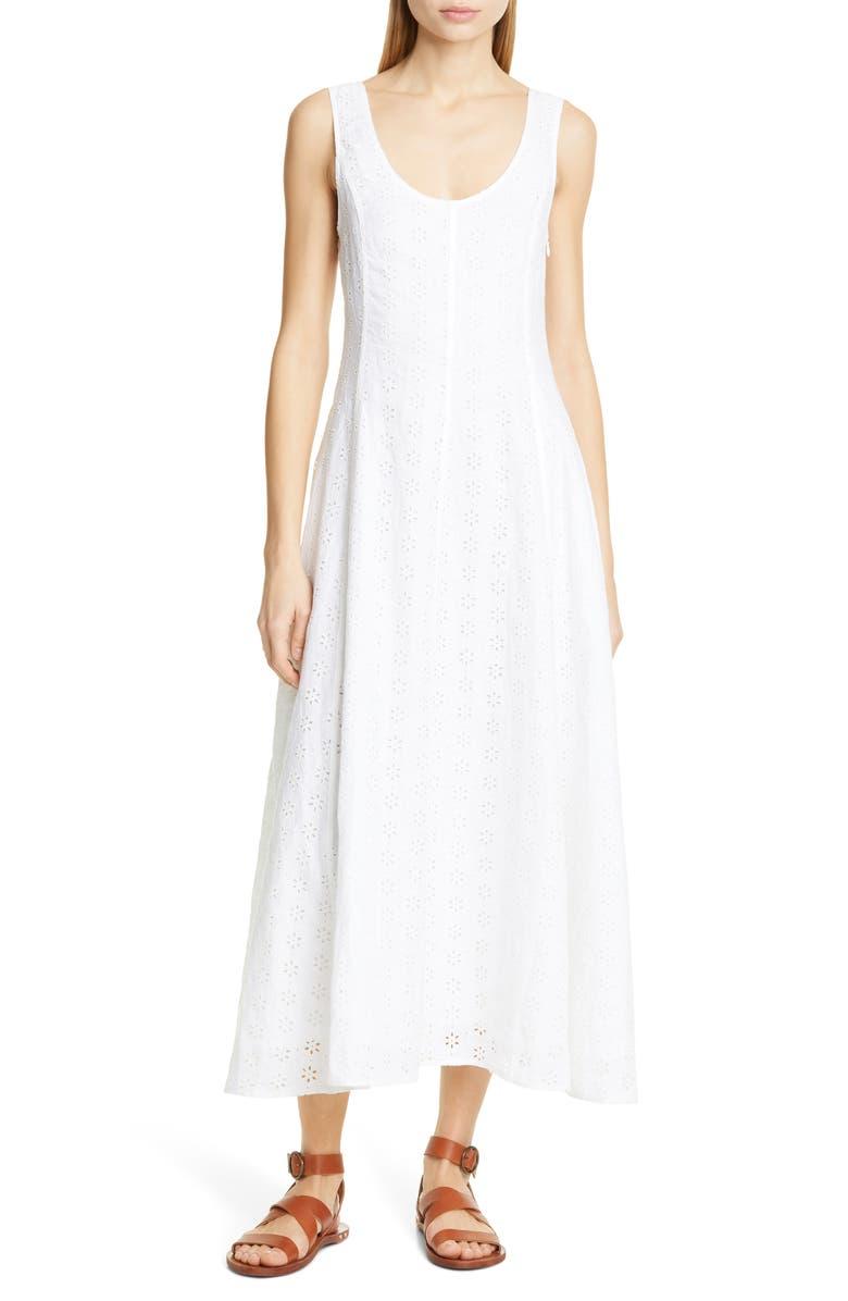 POLO RALPH LAUREN Eyelet Linen Maxi Dress, Main, color, WHITE