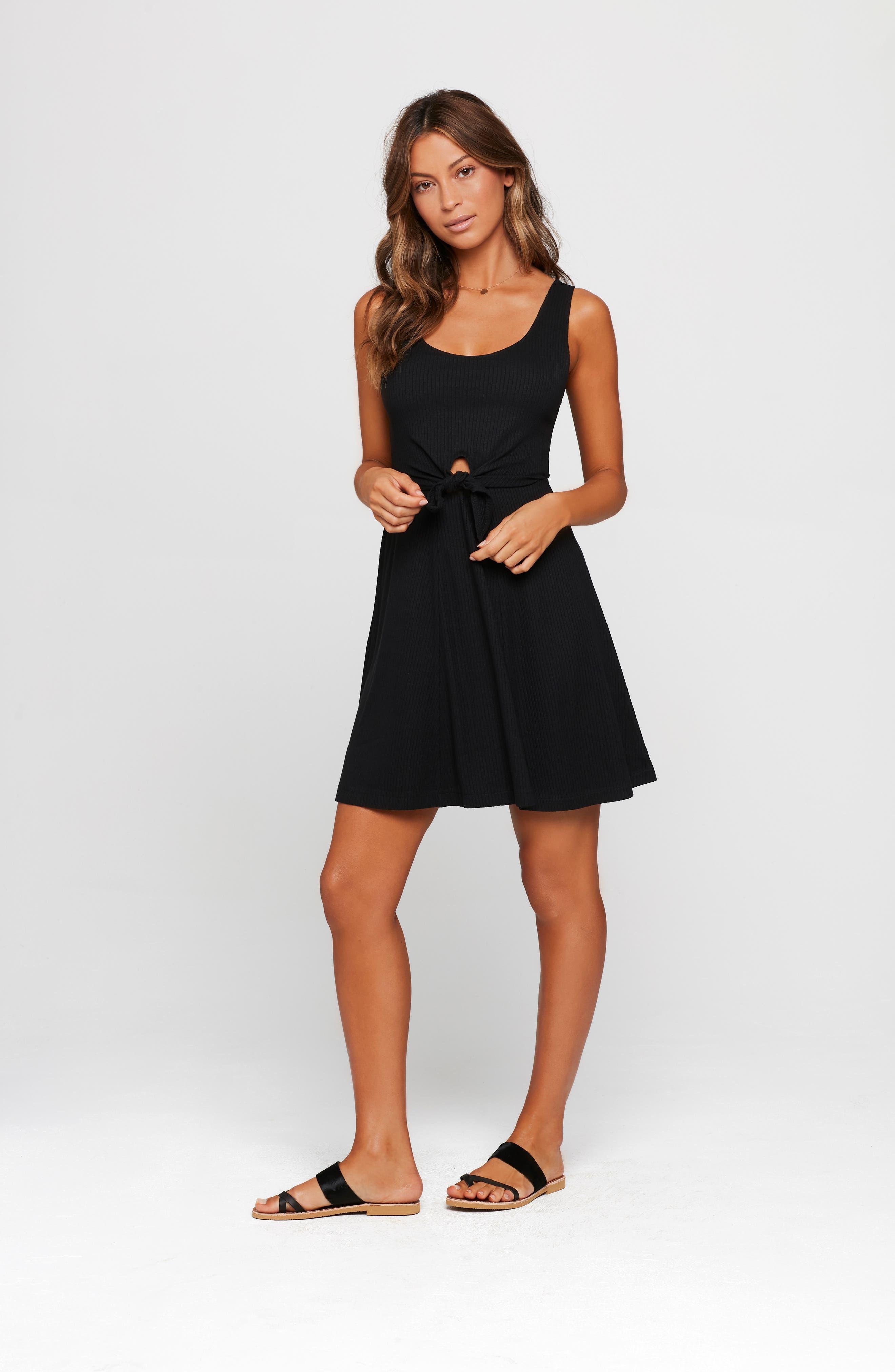 ,                             Topanga Ribbed Cover-Up Dress,                             Alternate thumbnail 5, color,                             BLACK