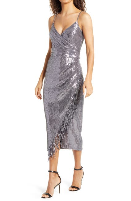 Image of Saylor Azariah Sequin Fringe Faux Wrap Dress