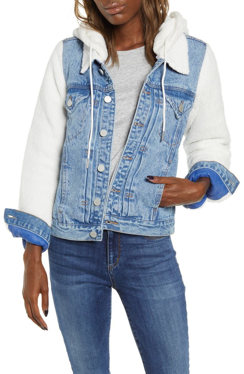 BLANKNYC Fleece Contrast Denim Jacket, Main, color, STEPCHILD