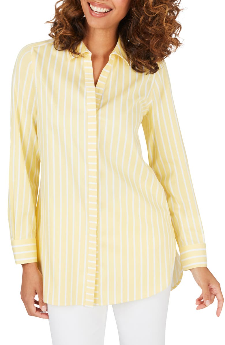 FOXCROFT Vera Stripe Non Iron Tunic Shirt, Main, color, SUNBEAM