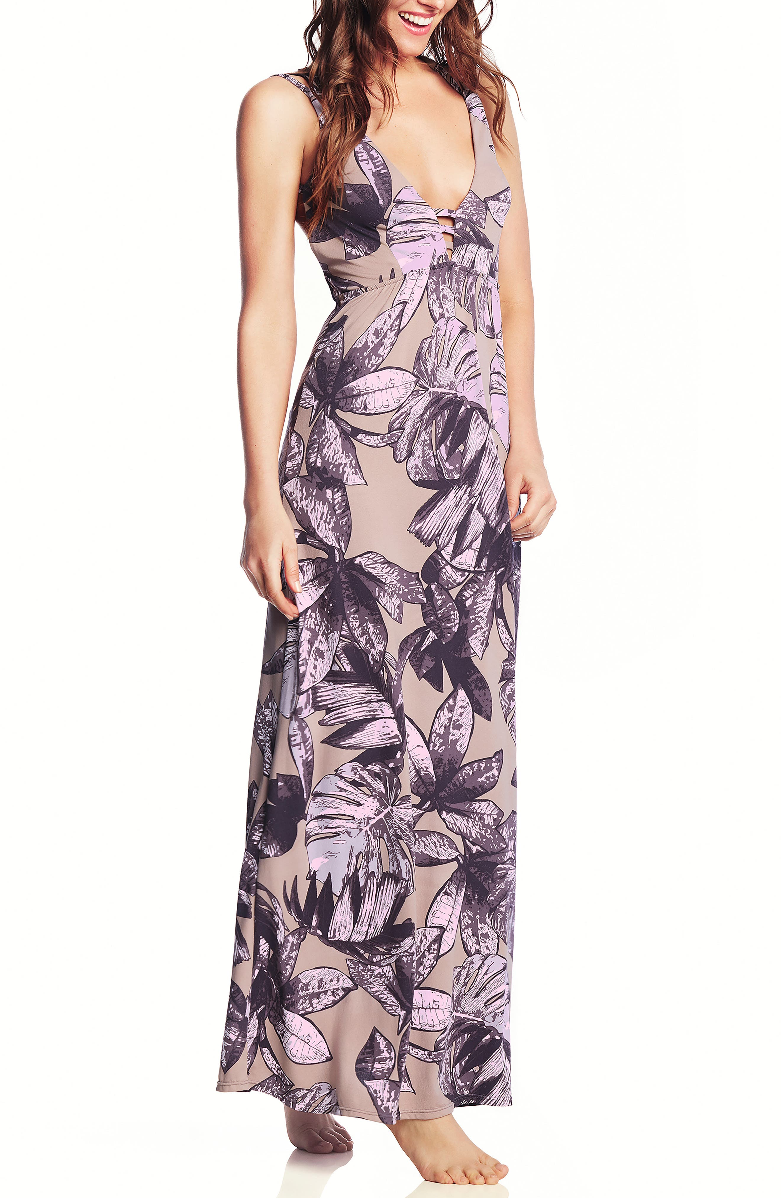 Maaji Beach Bound Cover-Up Maxi Dress, Purple
