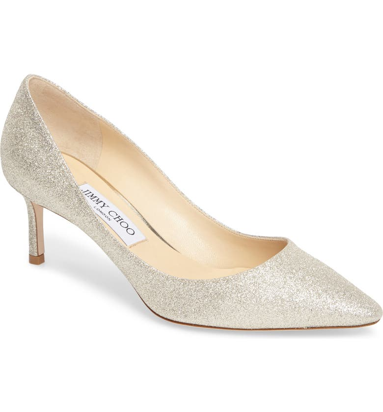 JIMMY CHOO Romy Glitter Pump, Main, color, PLATINUM ICE