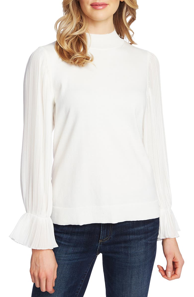 CECE Pleated Sleeve Mock Neck Sweater, Main, color, ANTIQUE WHITE