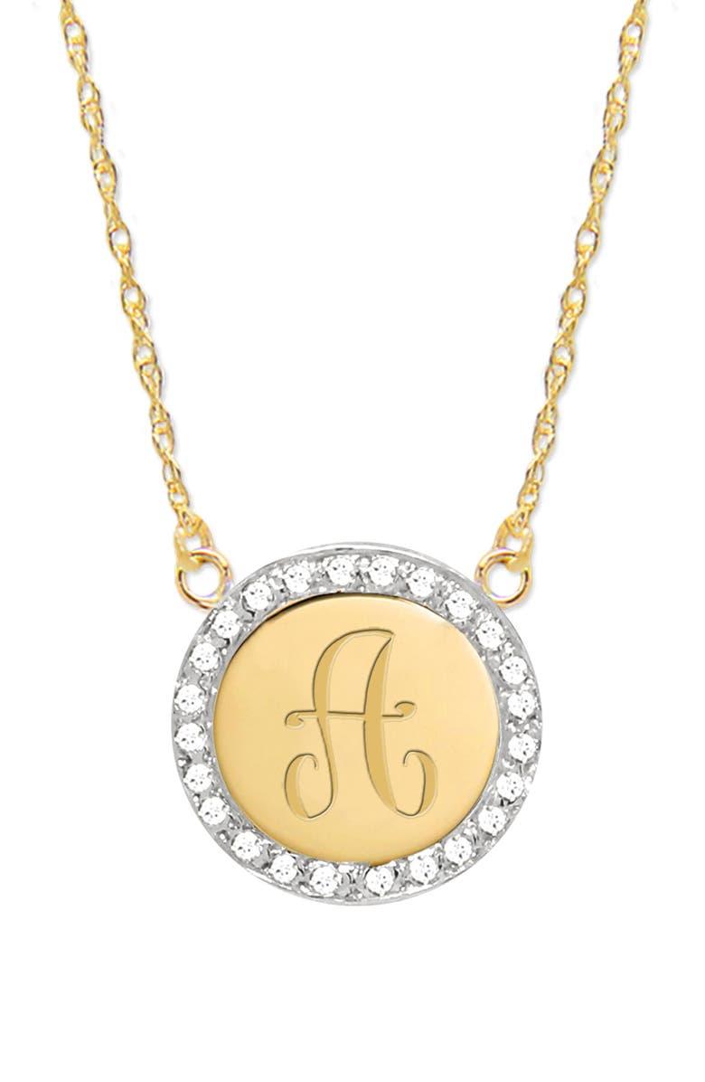 JANE BASCH DESIGNS Diamond Halo Initial Pendant Necklace, Main, color, GOLD- A