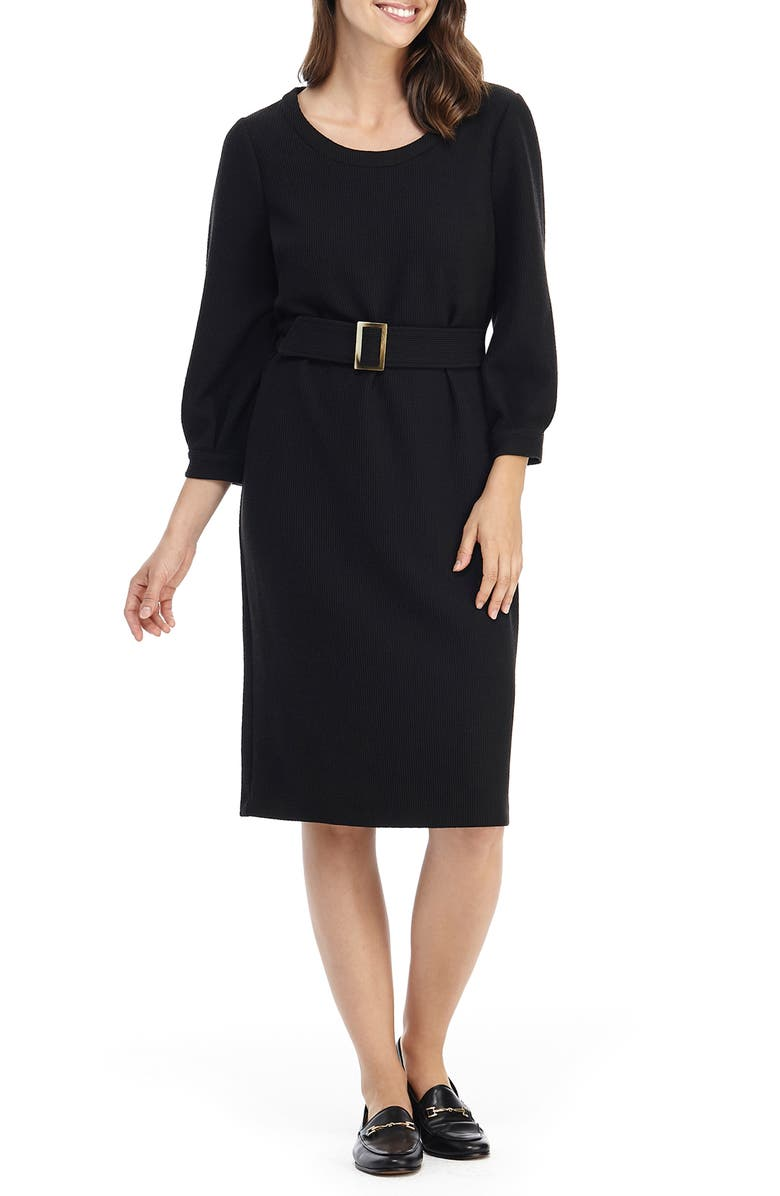 GAL MEETS GLAM COLLECTION Jody Belted Ribbed Dress, Main, color, BLACK