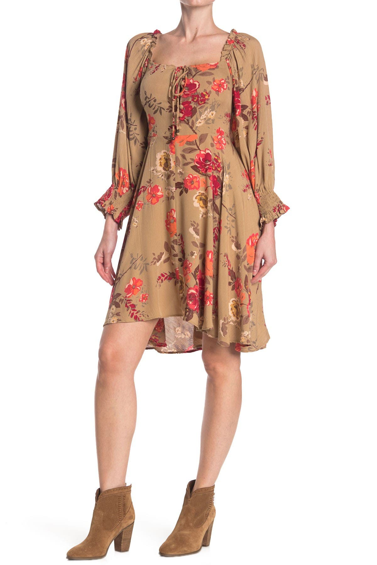 Image of Angie Long Sleeve Printed Tie Front Dress