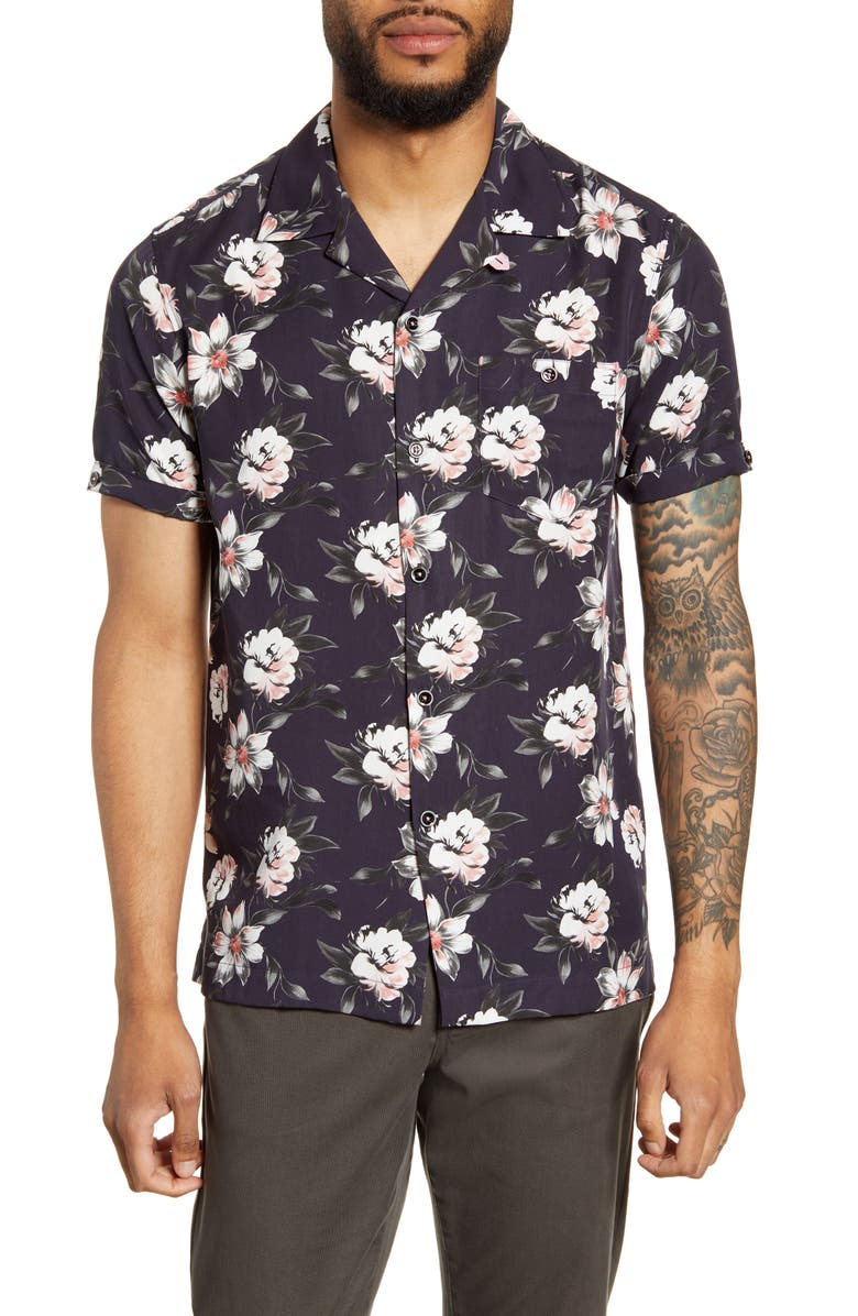 TED BAKER LONDON Philip Slim Fit Floral Short Sleeve Shirt, Main, color, NAVY