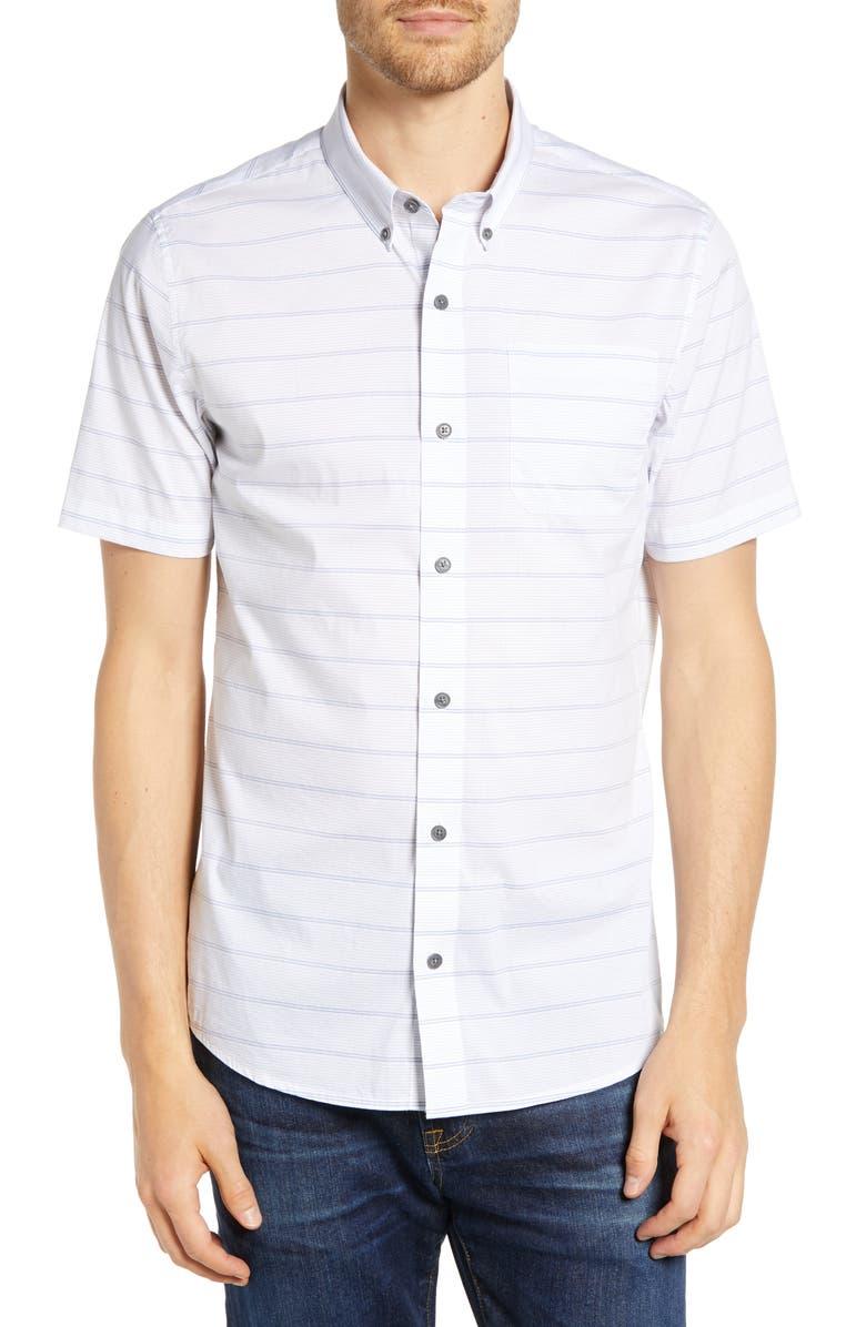 TRAVISMATHEW Bravo Regular Fit Stripe Shirt, Main, color, WHITE