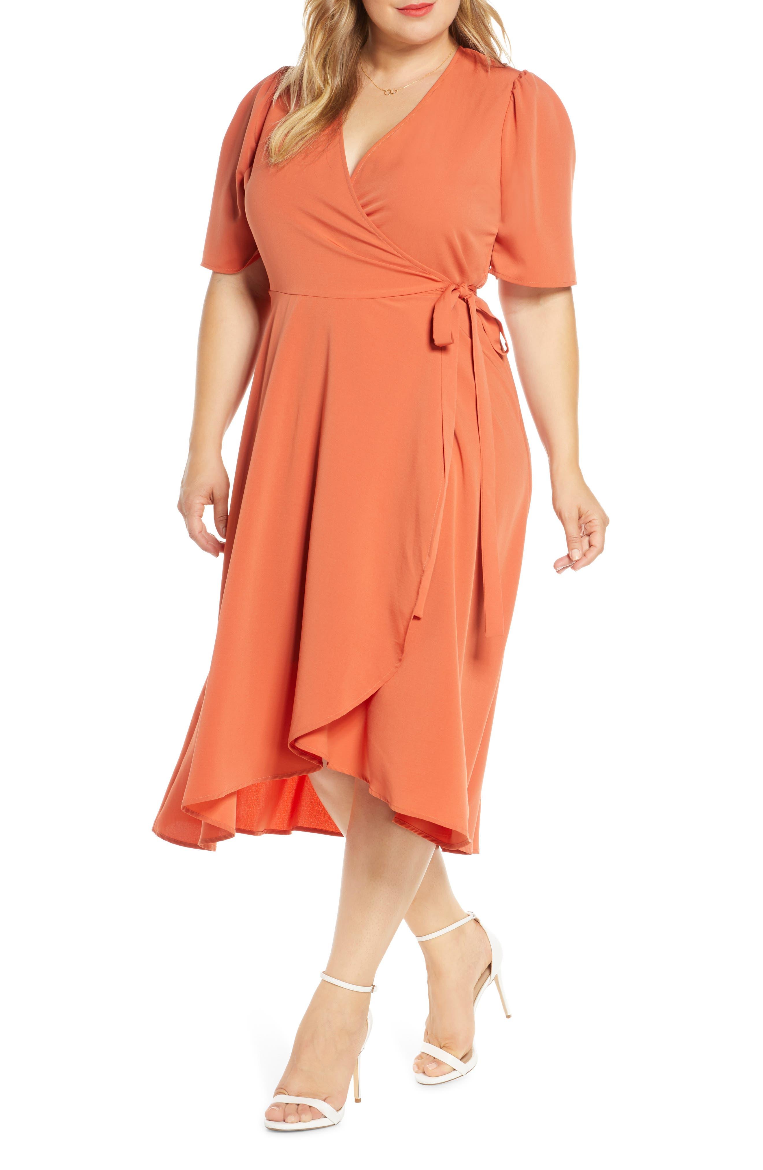 Plus Size Bobeau Liv Puff Sleeve Wrap Dress, Pink
