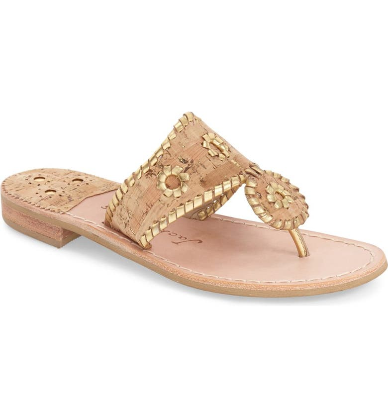 JACK ROGERS Whipstitched Flip Flop, Main, color, CORK/ GOLD