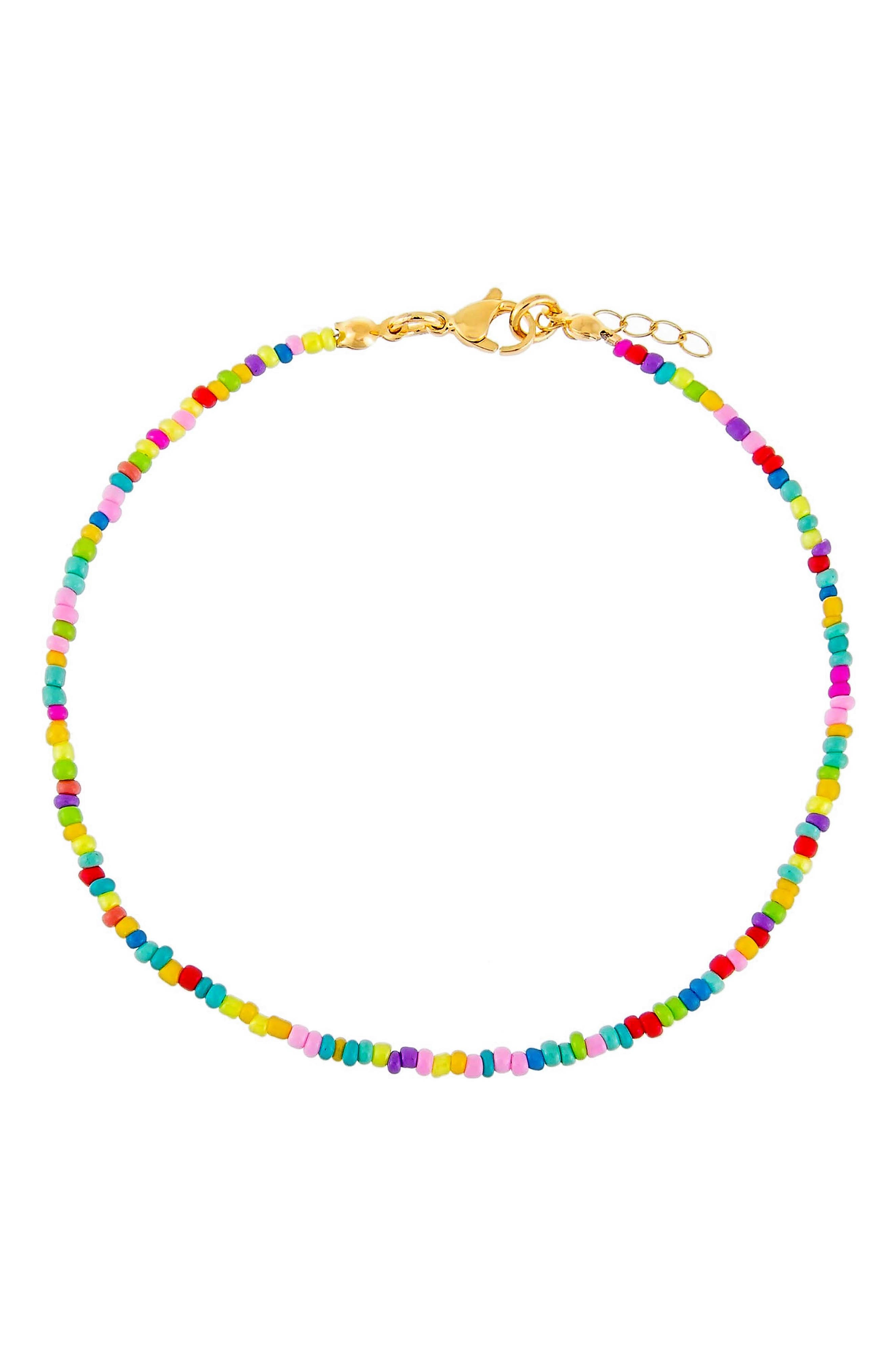 Women's Adina's Jewels Rainbow Beaded Anklet